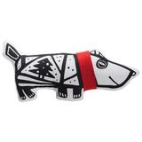 Мягкая игрушка Собака в шарфе большая, белая с красным фото