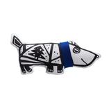 Игрушка Собака в шарфе, малая, белая с синим фото