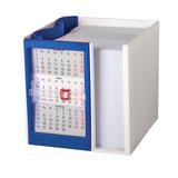 Календарь настольный на 2 года с кубариком, белый/ синий фото