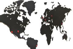 Карта пазл wall decoration, 90х54 см, черная фото