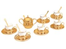 Кофейный набор, белый/ золотой фото
