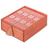 Коробка деревянная «Скандик», большая, красная фото