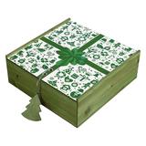 Коробка деревянная, зеленая фото