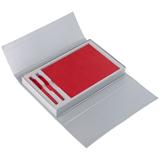 Коробка подарочная под блокнот и две ручки, серебристая фото