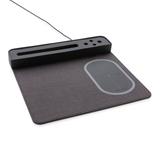 Коврик для мышки с беспроводным зарядным устройством, 5W и USB, серый фото