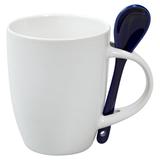 Кружка с ложкой, белая с синей фото