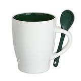 Кружка с ложкой керамическая, белый /темно-зеленый фото