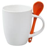 Кружка керамическая, цветая ложка,белый/оранжевый фото