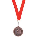 Медаль наградная на ленте Бронза, красный, коричневый фото