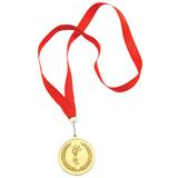 Медаль наградная на ленте Золото, золотой, красный фото