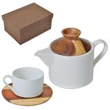 Набор Andrew: чайная пара и чайник в подарочной упаковке, белый, коричневый фото