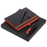 Набор Black Maxi: ежедневник Tone, ручка шариковая Prodir, флешка 8 Гб, внешний аккумулятор 2200 mAh, черный/оранжевый фото