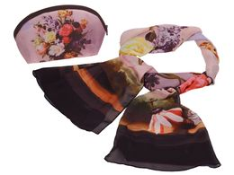 Набор Букет: косметичка и шарф, фиолетовый, разноцветный фото