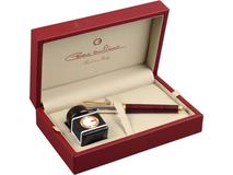 Набор: ручка перьевая, чернила в деревянном коробке, бордовый/золотой фото