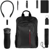 Набор City Complete (термостакан, зонт, нож, аккумулятор, наушники, брелок, флешка, ручка, блокнот, рюкзак), черный фото