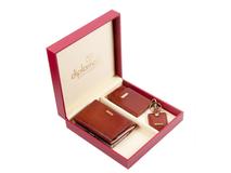 Набор женский Diplomat: портмоне, визитница, ключница, кожа натуральная, коричневый фото
