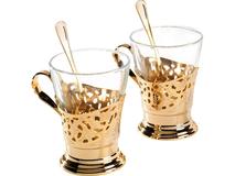 Набор для чая Chinelli на 6 персон, прозрачный, золотой фото