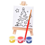 Набор для раскраски елочка:холст,мольберт,кисть, краски 3шт фото