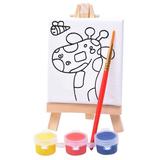 "Набор для раскраски ""Жираф"":холст,мольберт,кисть, краски 3шт фото"