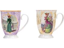 Набор: две кружки и чайное ситечко в коробке Дамы высшего общества, серый, фиолетовый, желтый, разноцветный фото