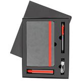 Набор  FANCY: универсальное зарядное устройство, блокнот, ручка, серый с красным фото