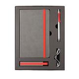 Набор Fancy: универсальное зарядное устройство, блокнот, ручка, серебряный/ красный фото