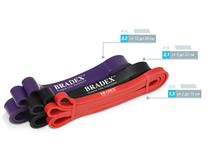 Набор фитнес-резинок для разминки Fitnesstape (красная, фиолетовая, черная) фото