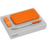 Набор Hand Hunter Bring: флешка Memo 16 Гб, ручка шариковая Dagger Soft Touch, внешний аккумулятор Uniscend Half Day Compact 5000 mAh, оранжевый фото