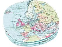 Набор из 4-х тарелок Карта мира, голубой, разноцветный фото