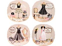 Набор  десертных тарелок Высокая мода, бежевый, разноцветный фото