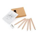 Набор карандашей с раскраской и точилкой, коричневый фото
