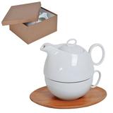 Набор Мила: чайник и чайная пара в подарочной упаковке, белый, коричневый фото