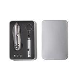 Набор: многофункциональный нож 11 в 1 и фонарик-брелок, серый фото