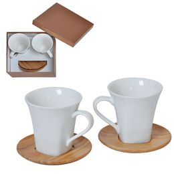 Набор Натали: две чайные пары в подарочной упаковке, белый, коричневый фото