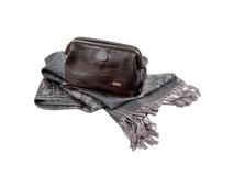 Набор женский: несессер, шарф (кожа, цвет шоколад/серый) фото
