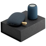 Набор Palm Beach: внешний аккумулятор Pebble 7800 mAh, колонка портативная Uniscend Grinder, серо-синий фото