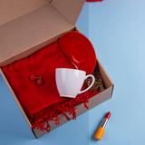 Набор подарочный CherryFairy: шарф, чайная пара, красный фото
