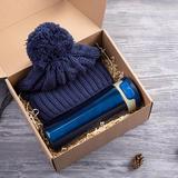 Набор подарочный Hot hat: шапка, термокружка, тёмно-синий фото