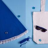 Набор подарочный Ocean Memory: плед пляжный, очки, зарядное устройство, сумка, чёрно-белый фото