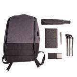 Набор подарочный RoyalFlush: бизнес-блокнот, ручка, термокружка, зарядное устройство, рюкзак, серый фото