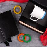 Набор подарочный Smart Talk: бизнес-блокнот, кружка, коробка, голубой фото
