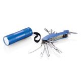 Набор Quatro: мультитул и фонарик, синий фото