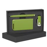 Набор ручка + флеш-карта 16Гб + зарядное устройство 4000 mAh в футляре, покрытие soft touch, зелёный фото