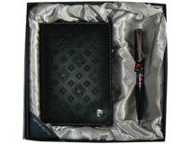 Набор: ручка шариковая, обложка для паспорта, чёрный/ фиолетовый фото