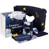 Набор «Спящая красавица» (маска для сна, косметичка, зеркало, блокнот, надувная подушка), синий с рисунком фото