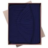 Набор Stripes: шарф и шапка, темно-синий фото