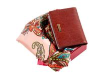 Набор женский: визитница, платок (кожа, шелк/полиэстер, цвет коричневый/разноцветный) фото
