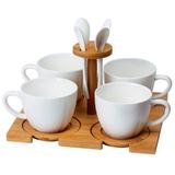 Набор Ксю: 4 чайные пары и 4 чайные ложки, подставка фото
