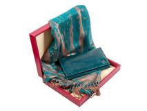Набор женский: портмоне, шарф (кожа, шелк/полиэстер, цвет морской волны) фото
