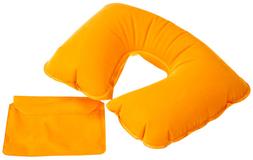 Надувная подушка под шею в чехле Sleep, оранжевая фото